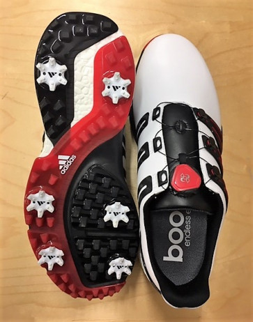 Adidas PowerBand Boa Herre Golfsko - str. 46 Wide (29,5 cm.) - Hvide/Sorte/Røde - Vandtætte