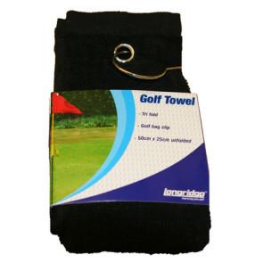 Trifold golfhåndklæde - sort